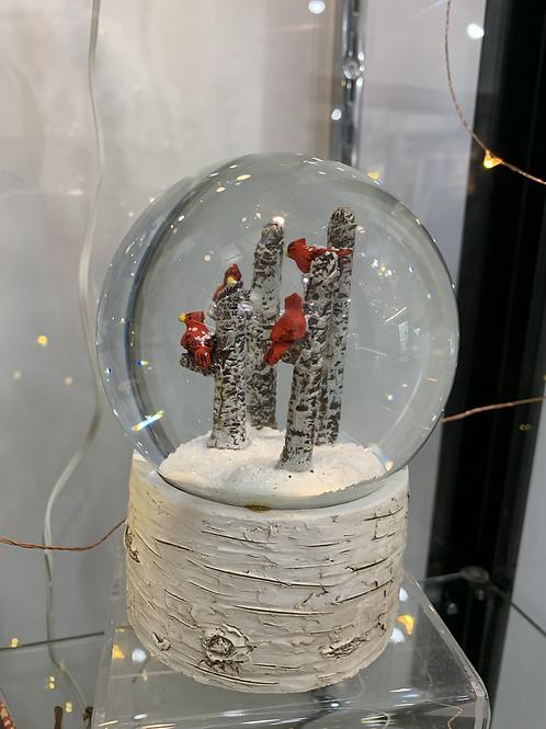 Cardinal/Birch Trees Snowglobe