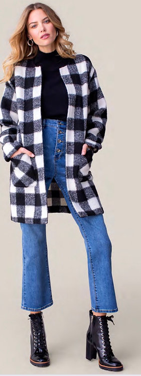 Tribal Black/White Buffalo Plaid Coat