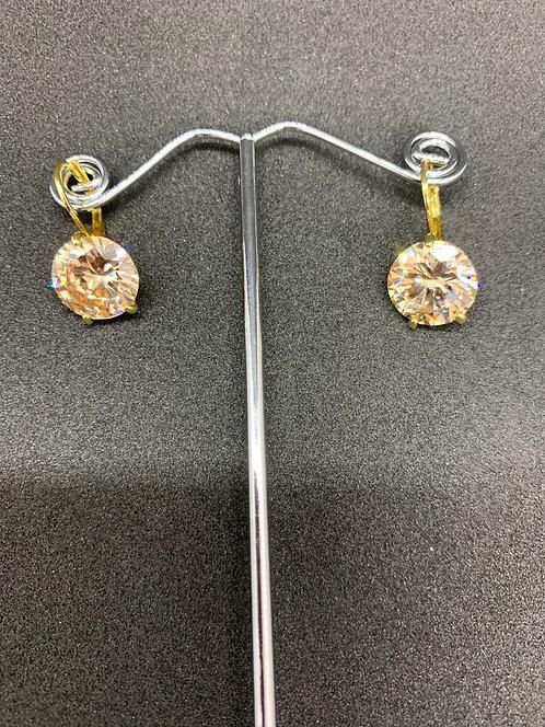 Swarovski Crystal Earrings Gold/Amber Small