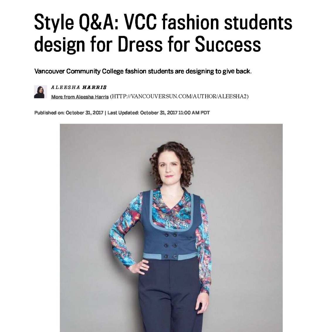 VCC students design for Dress for Success