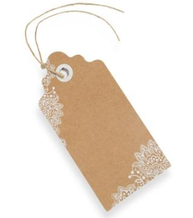 Kraft with White Lace Luggage Tag