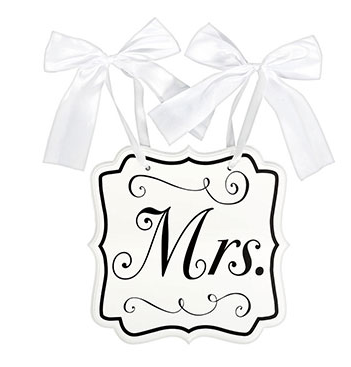 White Wooden Chair Sign - Mr & Mrs