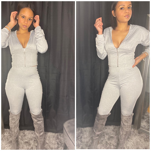 Two Piece Zipper Jacket with Leggings