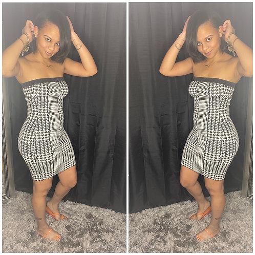 Checkered Print Halter Dress