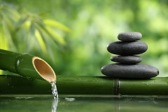 Spa still life with bamboo fountain and