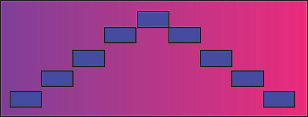 "Graphic rectangle with gradient background and a ""hill"" of small rectangles across surface."