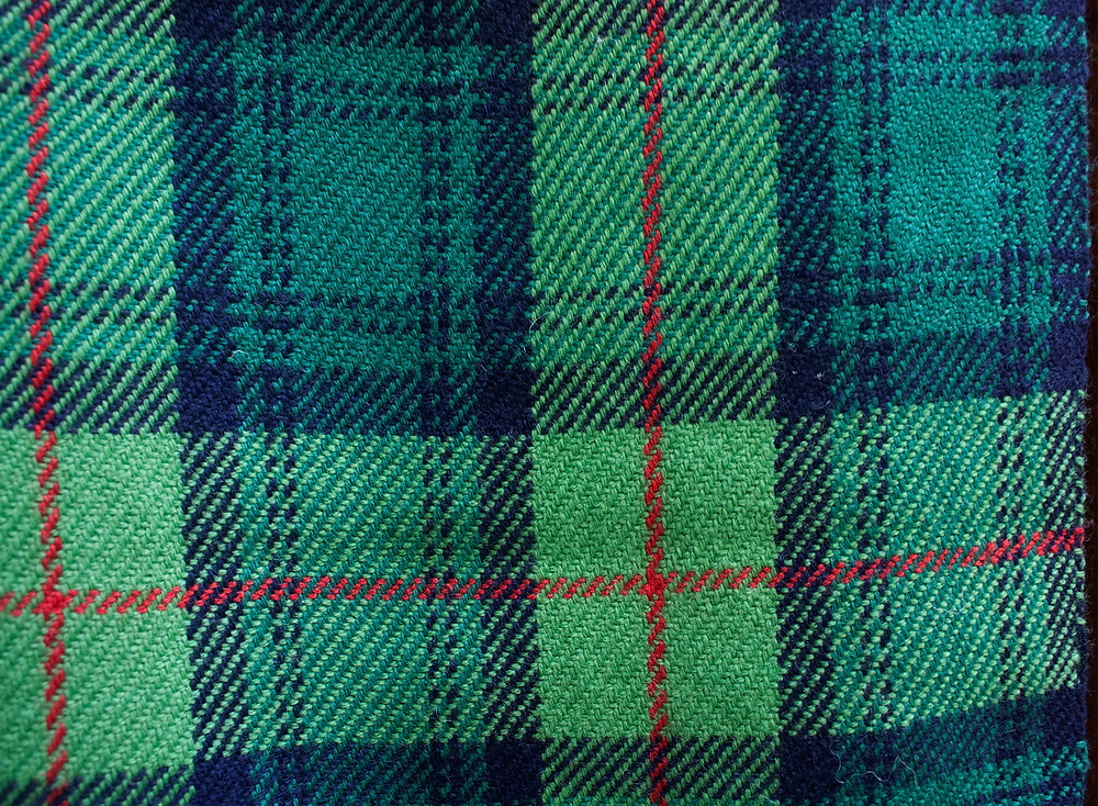 Green, blue and red tartan