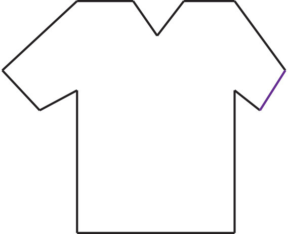 Graphic of outline of a short sleeved shirt