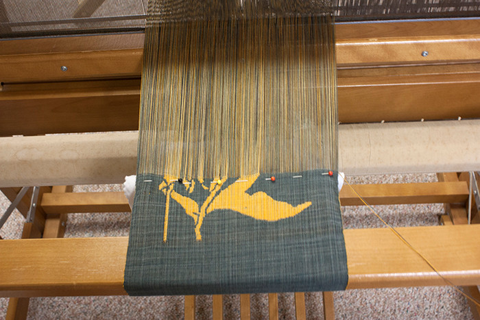 Loom with double weave pick up