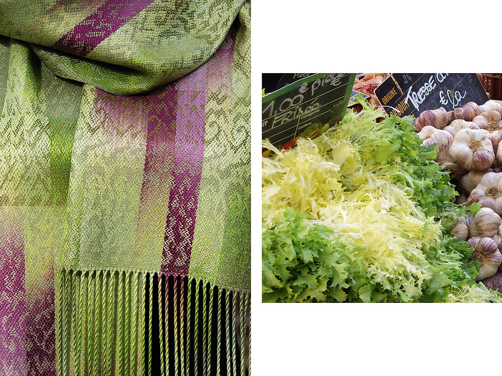 two photos, scarf and its inspiration, lettuce. Lynn Smetko