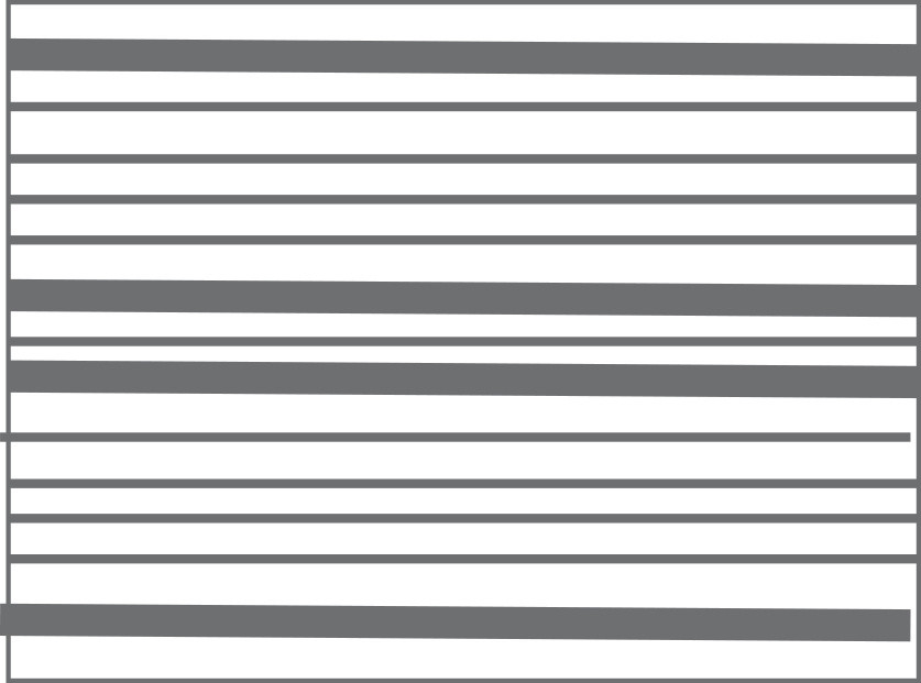 Graphic of squat rectangle with horizontal stripes varying in thickness.