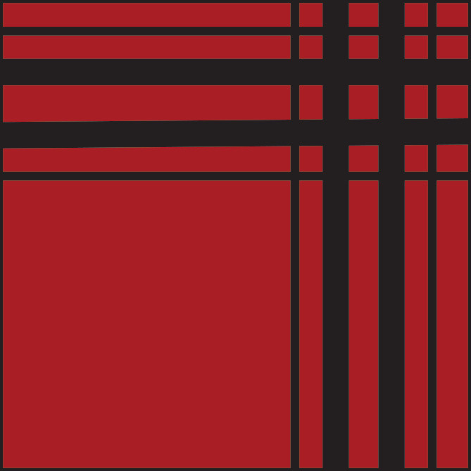 Graphic, square with horizontal bars at top and vertical ones at right side.