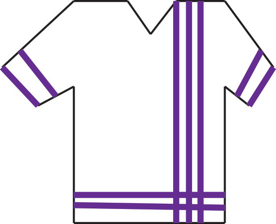 Graphic of a shirt with three vertical stripes on right, 2 horizontal stripe on bottom and 2 horizontal stripes on each sleeve.