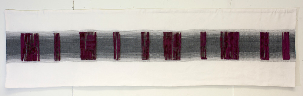 Double weave pleats, white background, black stripe with red pleats.