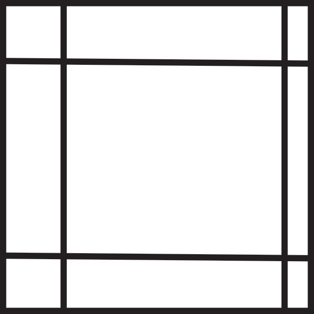 Graphic of a square with 4 lines, 2 horizontal and 2 vertical that are misplaced to make one edge feel crowded.