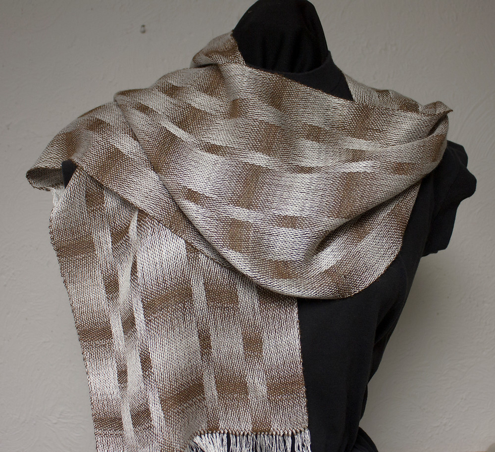 satin weave scarf brown and white