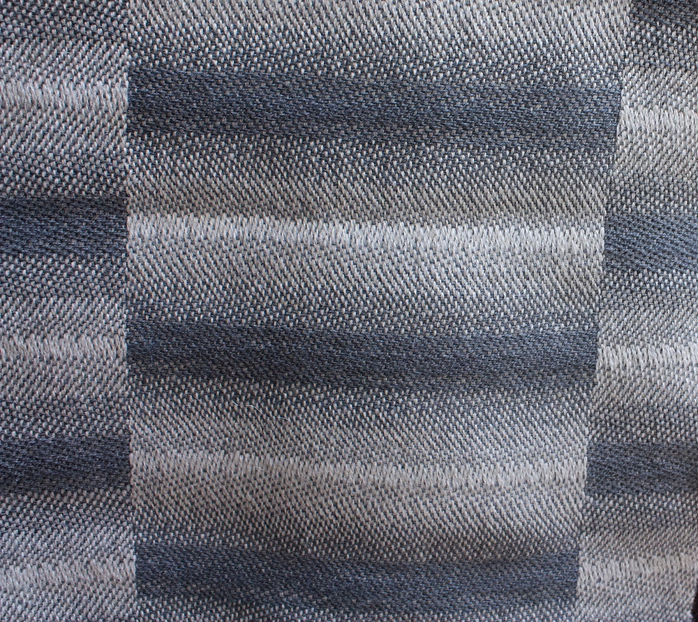 Stripes created with one color warp, one color weft and transitioning from warp-faced to weft-faced satin.