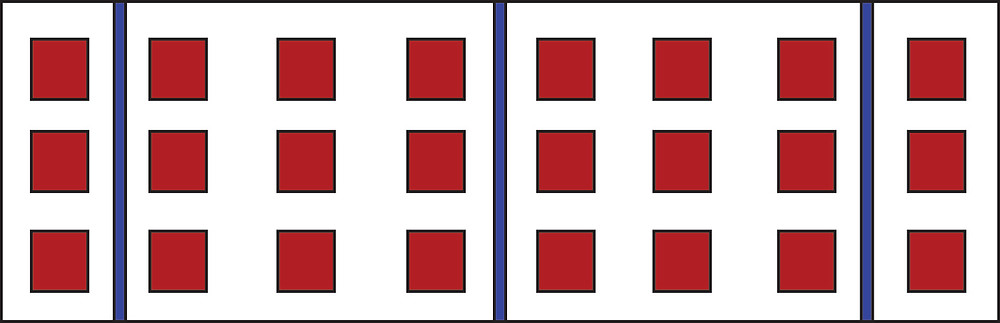 Graphic rectangle with repeated rows of 3 stacked red squares, 8 times, interspersed with 3 blue lines.