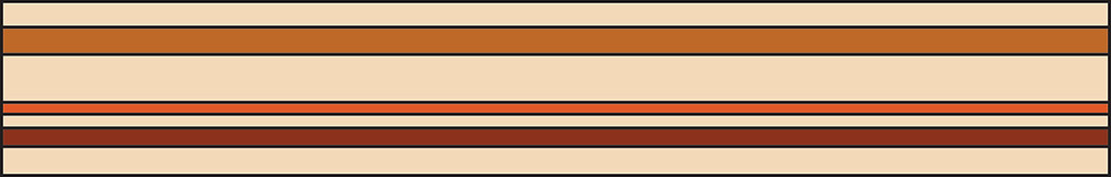 Graphic of tan rectangle with 3 long brown stripes of different tones and thicknesses.