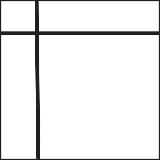 Graphic of square with one thin vertical and one thin horizontal line both about a quarter from the edge.