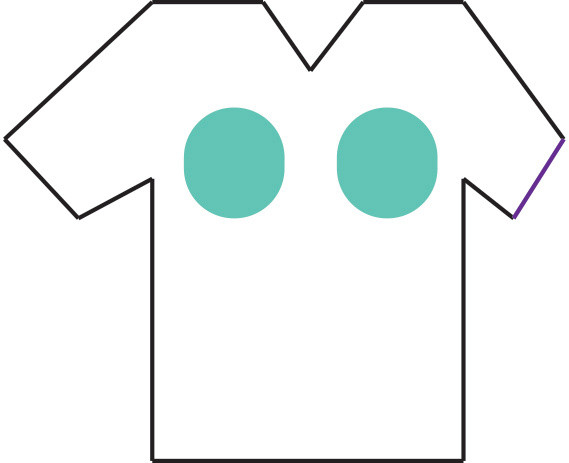 Graphic of a shirt with two large circles in breast area.