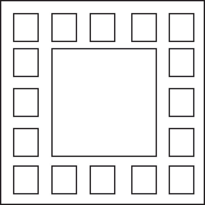 Graphic of a square with a large square in the center and smaller squares surrounding it.