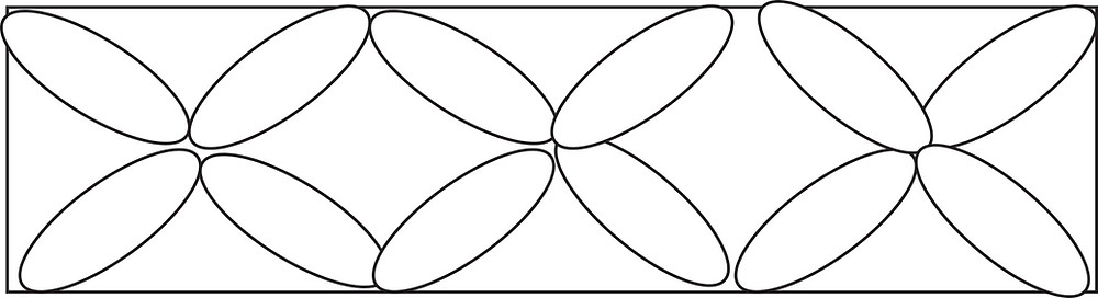 "Graphic of horizontal rectangle containing 3 ""flowers"" each made of 4 ovals."