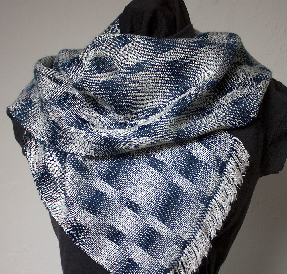 satin weave scarf blue and white