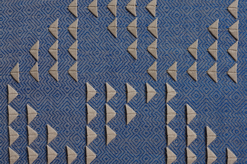 Blue twill origami weaving by Susie Taylor
