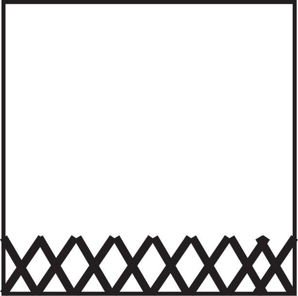 Square graphic with row row of x's at the bottom edge.