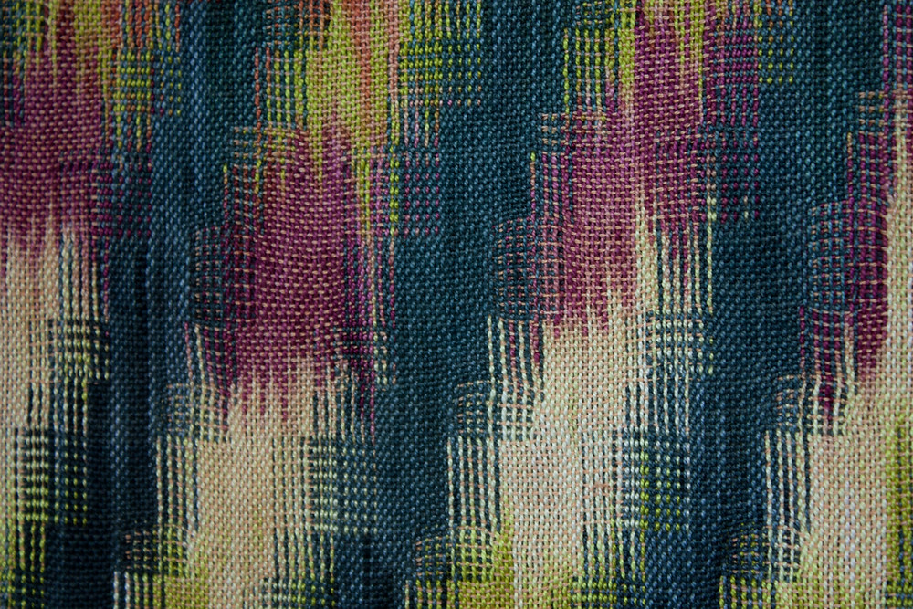 Detail of networked double weave with painted warp