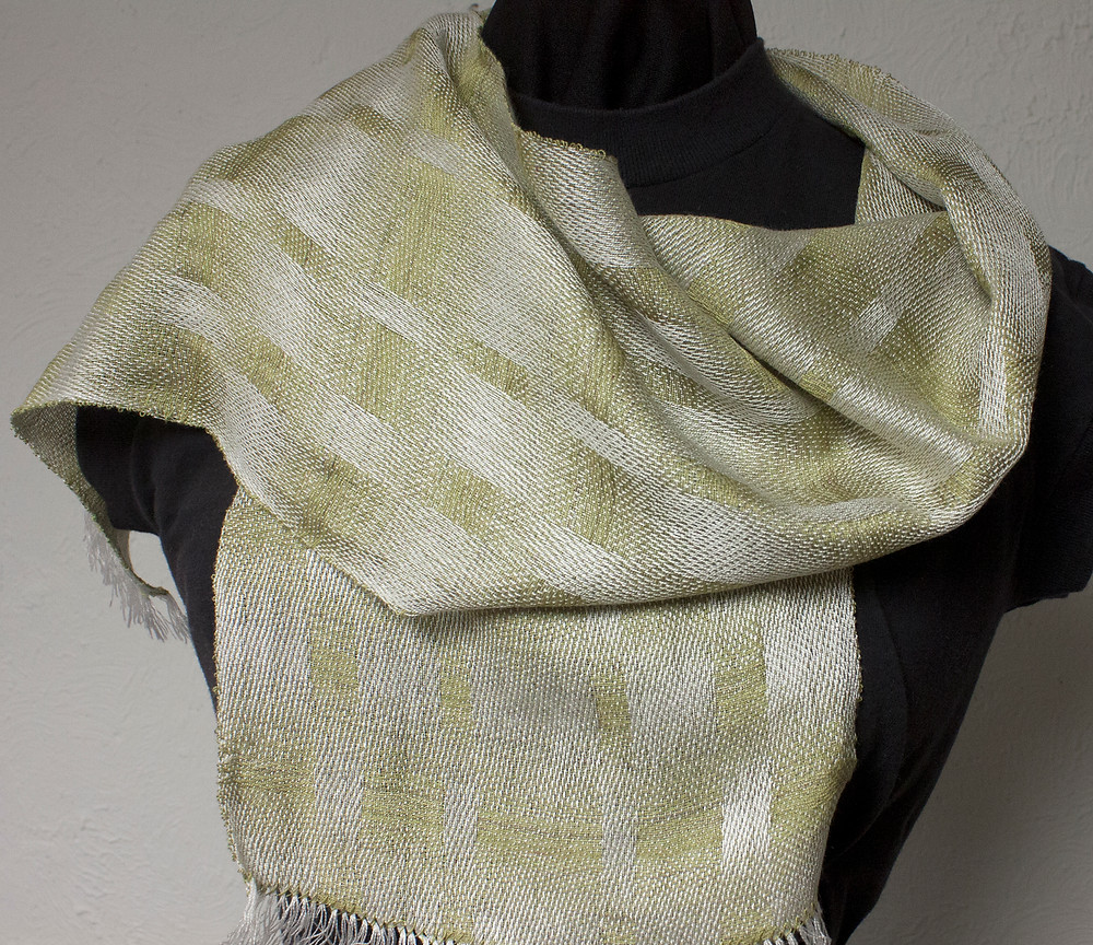 Satin weave scarf, green and white.
