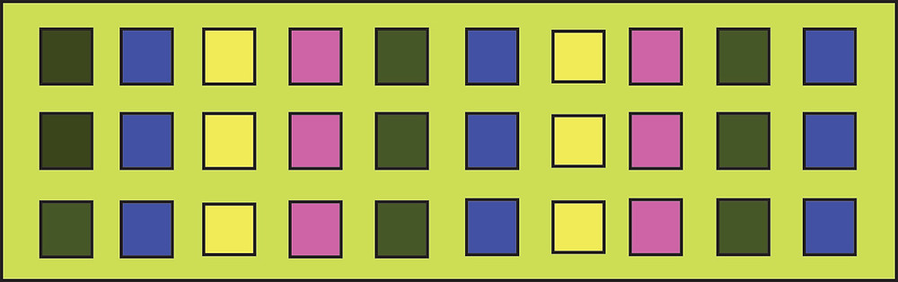 Graphic of rectangle with rows of 3 squares, each row a different color.