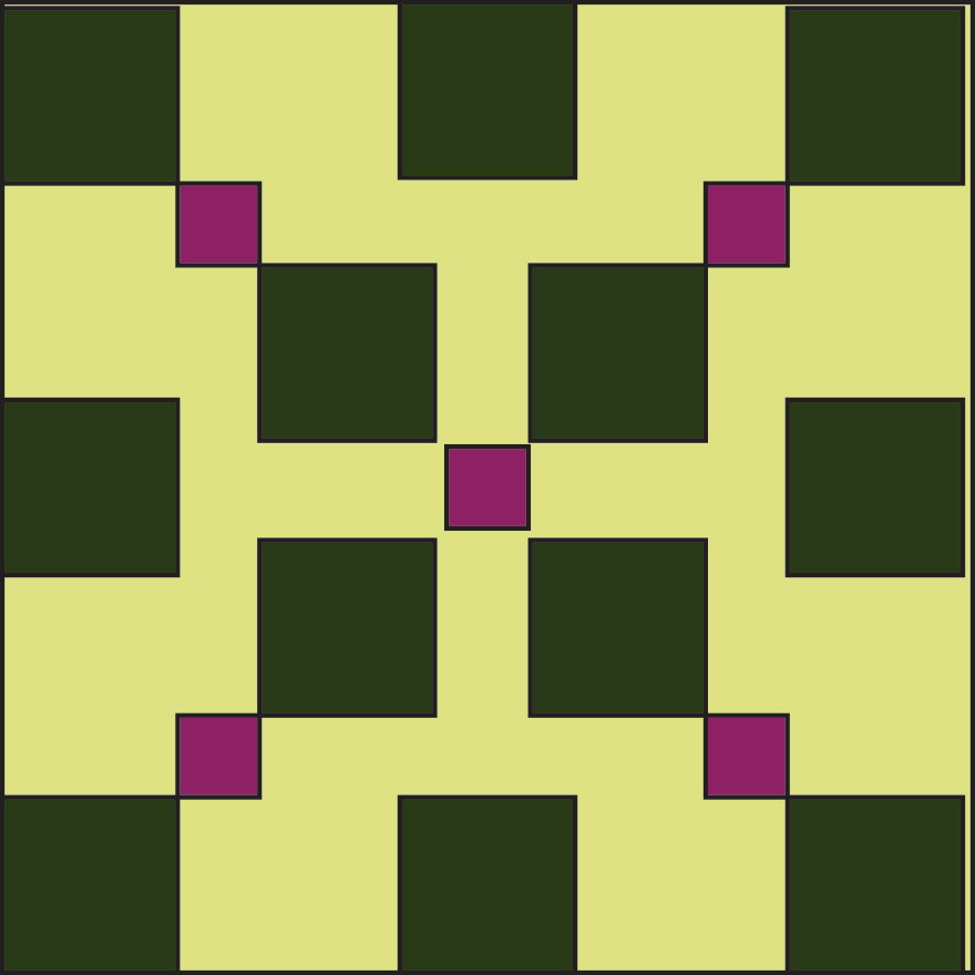 Graphic of green square with purple and dark green squares.