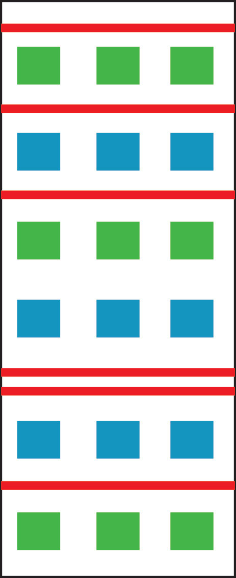 Graphic with alternating rows of 3 blue, 3 green blocks interspersed with solid red lines.