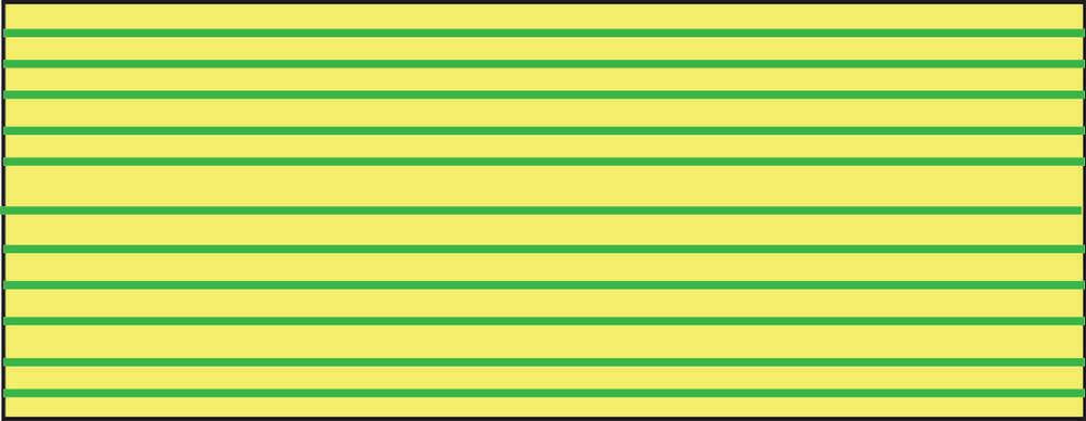 Graphic of yellow rectangle with evenly spaced green stripes