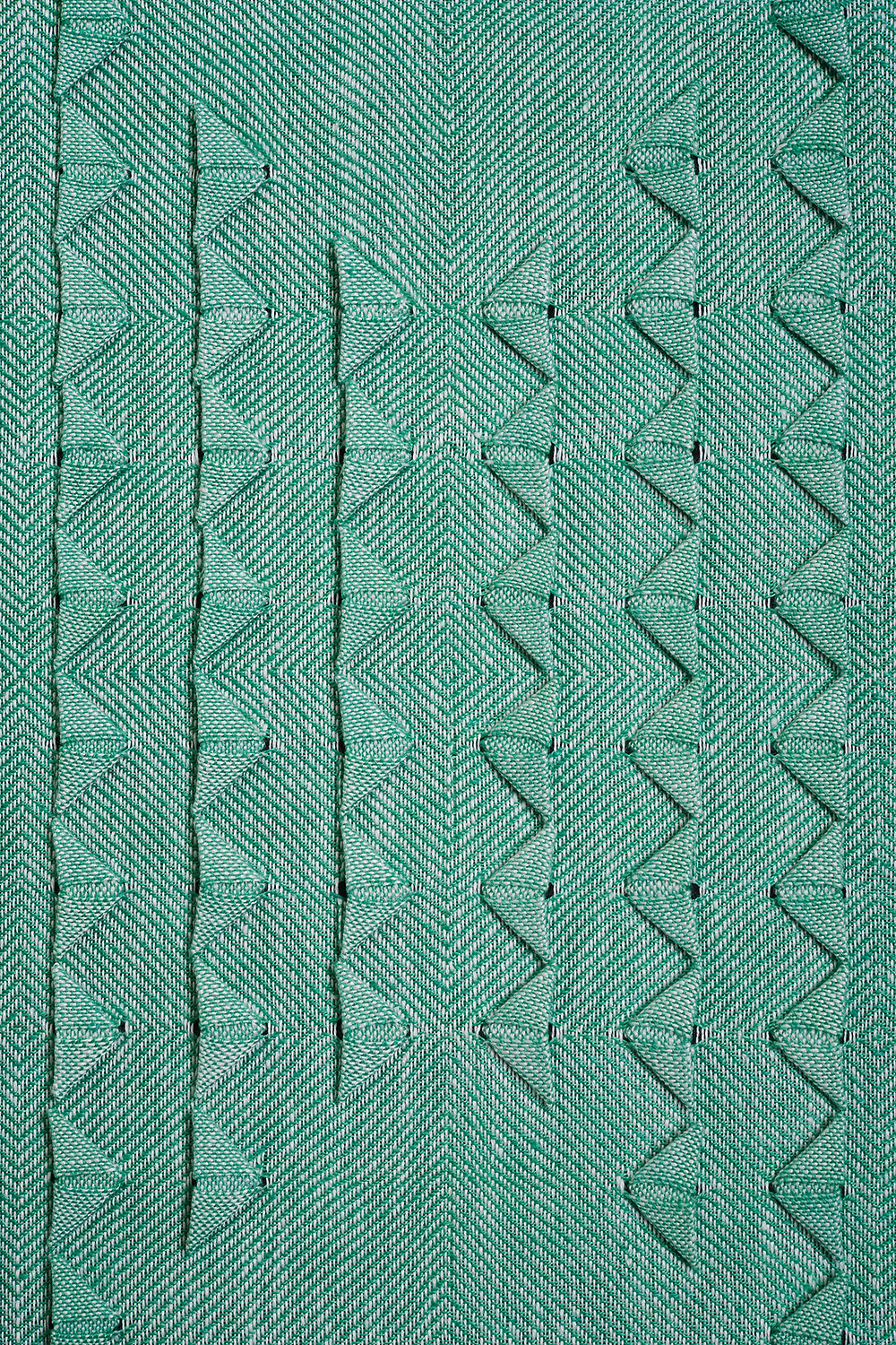 Green origami weaving by Susie Taylor