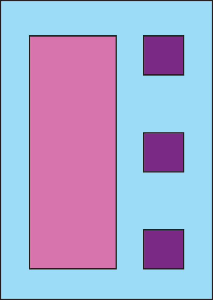 Graphic of blue vertical rectangle with large vertical rectangle in pink on the left and a vertical stack of purple squares on the right