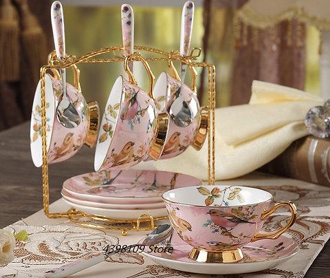 Hand-painted Pink China Tea Set