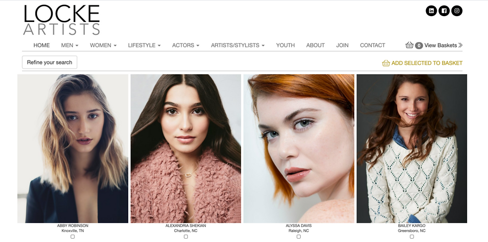 An example of an agency clearly showcasing their models on their website.