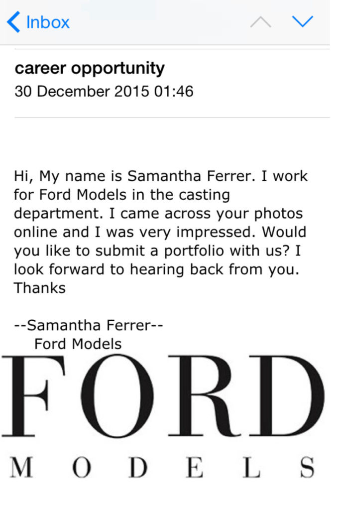 An example of an email I have received.
