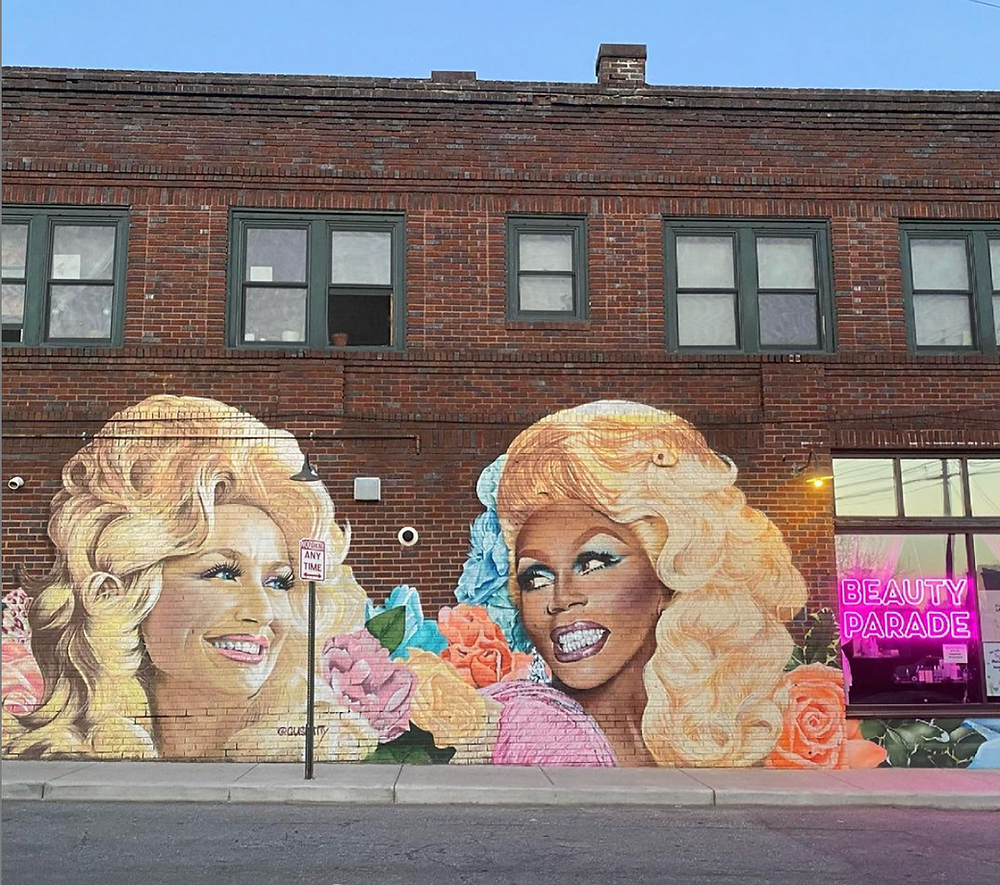 ru paul dolly parton mural asheville beauty parade JAWBREAKING