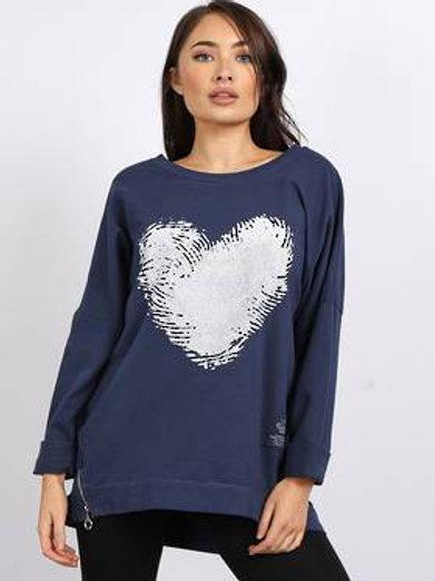 Finger Print Heart Sweatshirt Charcoal