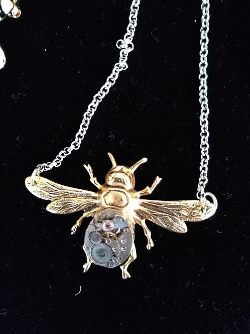 Bee Pendant (Upcycled old watch)