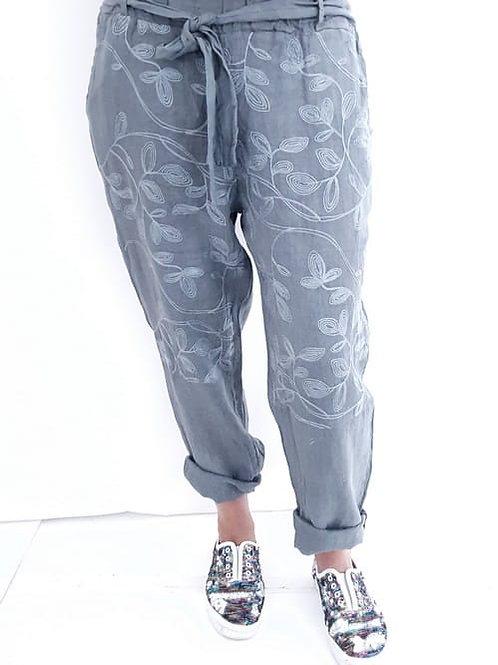 Helga May Pommac Linen Pants - Grey
