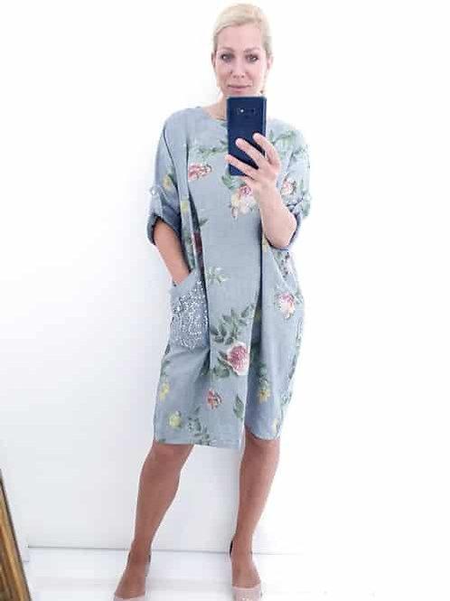 Helga May Grey Pinstripe Dress