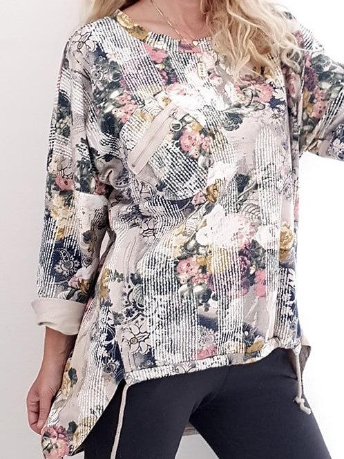 Helga May Frost Line Zip Pocket Sweater - Beige