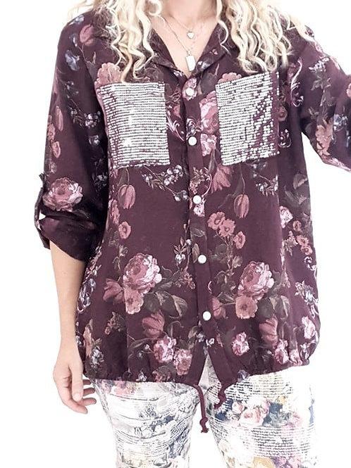 Helga May Mini Bouquet Sequin Pocket Shirt - Wine