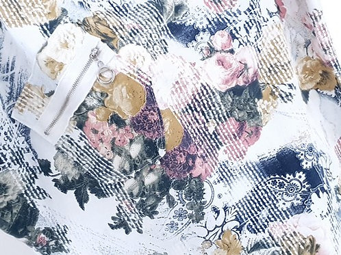 Helga May Line Zip Pocket Sweater - Frosty White