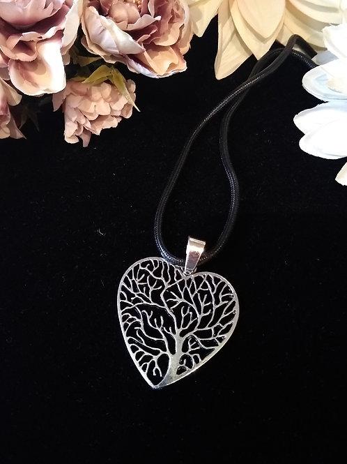 Heart Tree Silver Toned Pendant